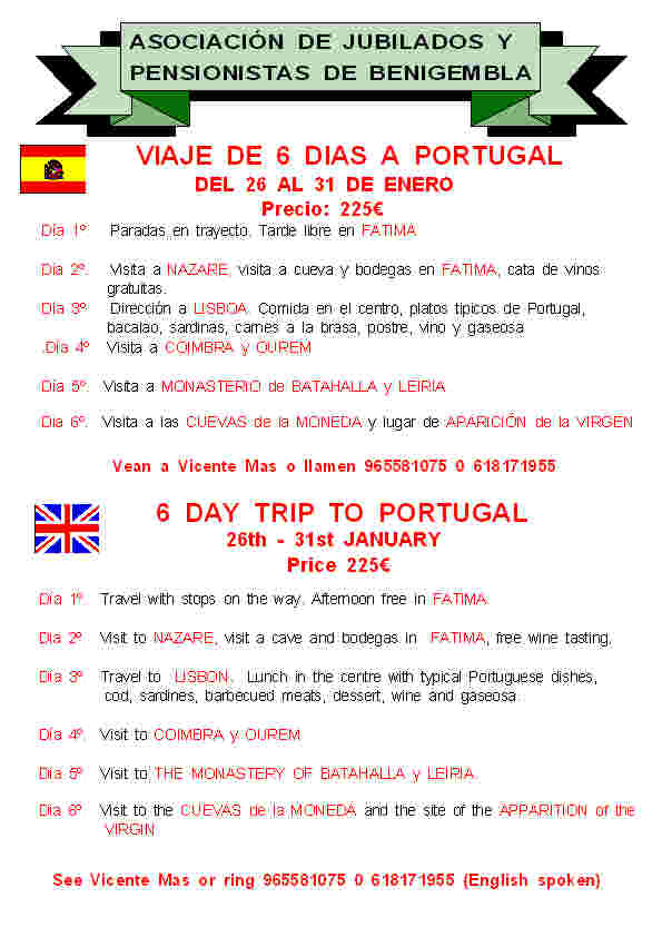 6 day trip to Portugal 26th - 31st January 2013 Poster1-2013