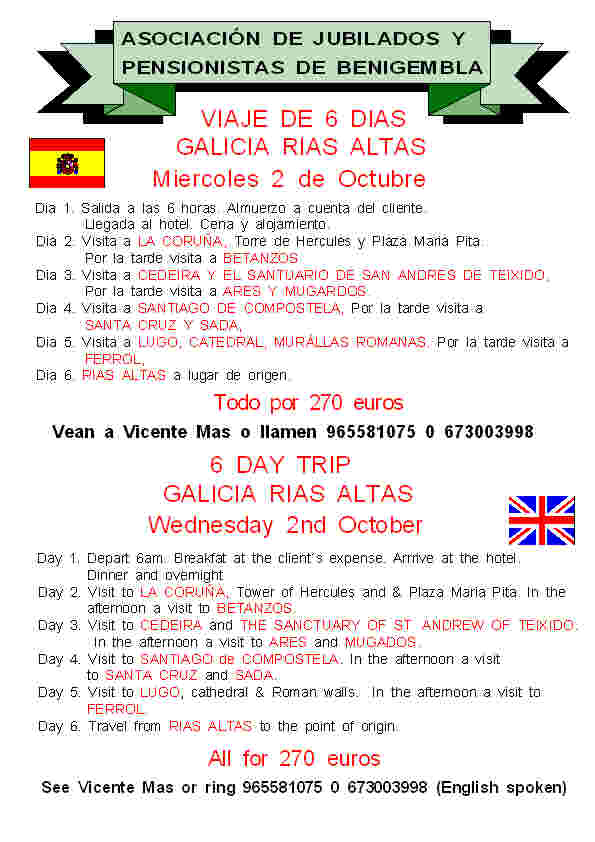 6 day trip to Galicia - 2nd October 2013 Poster18-2013