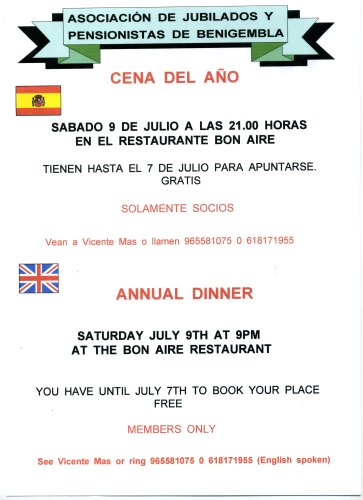 Annual dinner Saturday 9th July 2011 Poster19