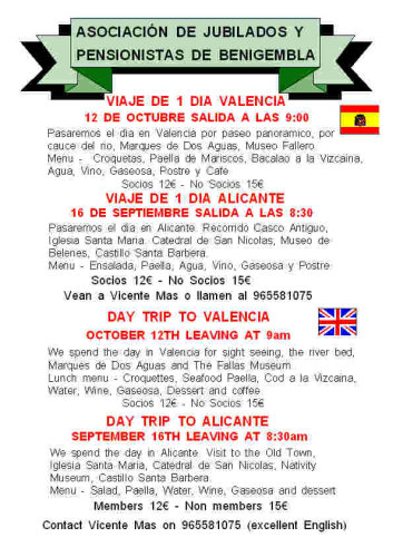 Trip to Alicante 11th September & Valencia 14 October 2011 Poster22