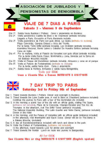 7 day trip to Paris 3rd - 9th September 2011 Poster23