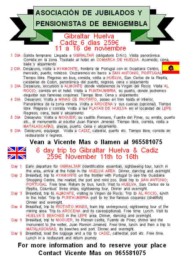 6 day trip to Gibralta, Huelva and Cadiz 11th-16th November  Poster27-2013
