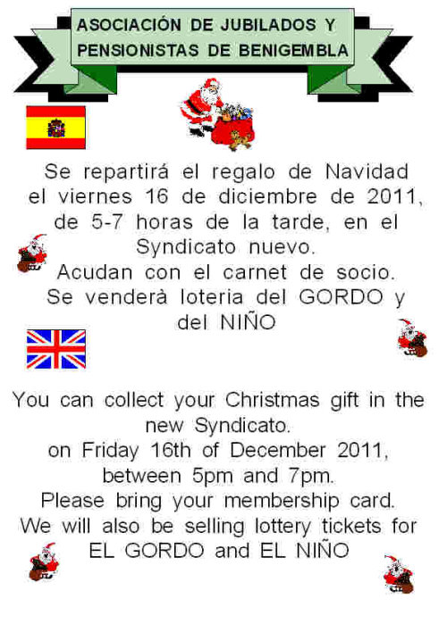 Christmas gift collection notice - 16th December 2011 Poster28