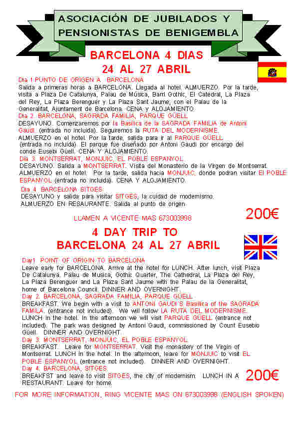4 day Trip to Barcelona 24th to 27th April 2014 Poster3-2014