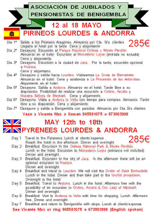 Pyrenees, Lourdes & Andorra May 12th - 18th 2013 Poster4-2013