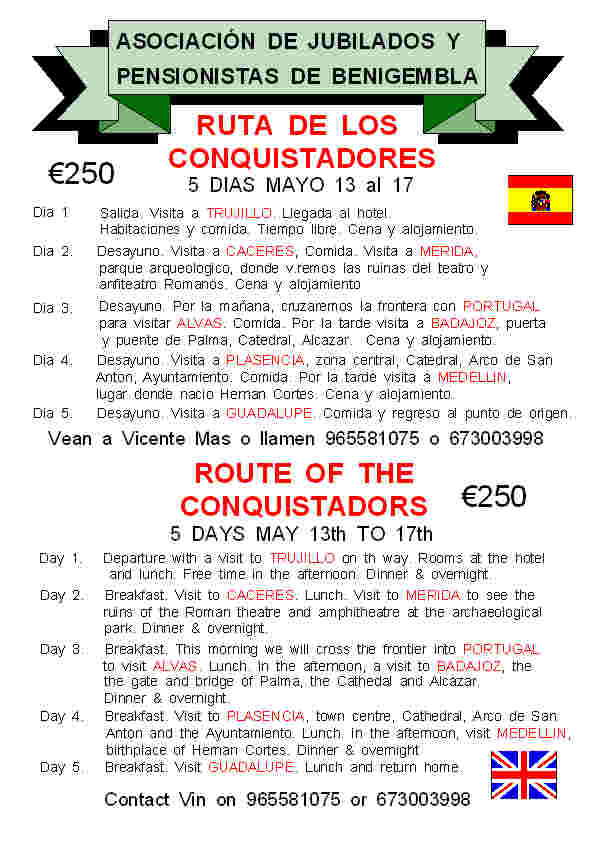 5 day trip Route of the Conquistadors 13th-15th May 2014 Poster5-2014
