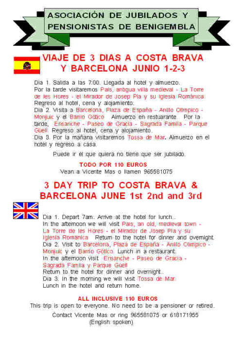 3 day trip to Costa Brava and Barcelona 1st-3rd June 2012 Poster6-2012